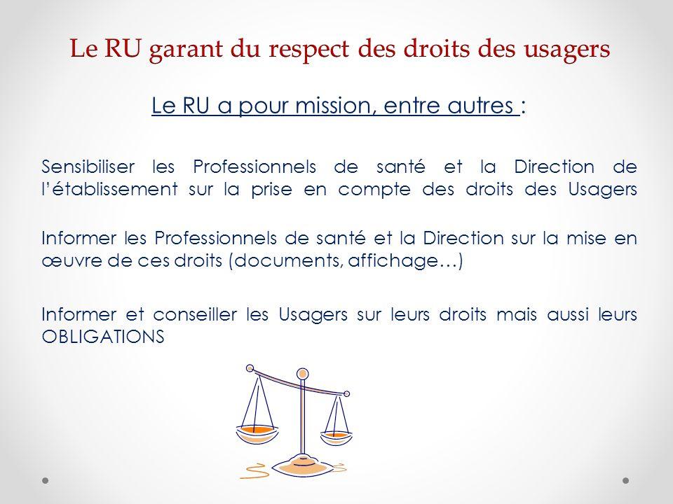 Le RU a pour mission, entre autres : Sensibiliser les Professionnels de santé et la Direction de létablissement sur la prise en compte des droits des