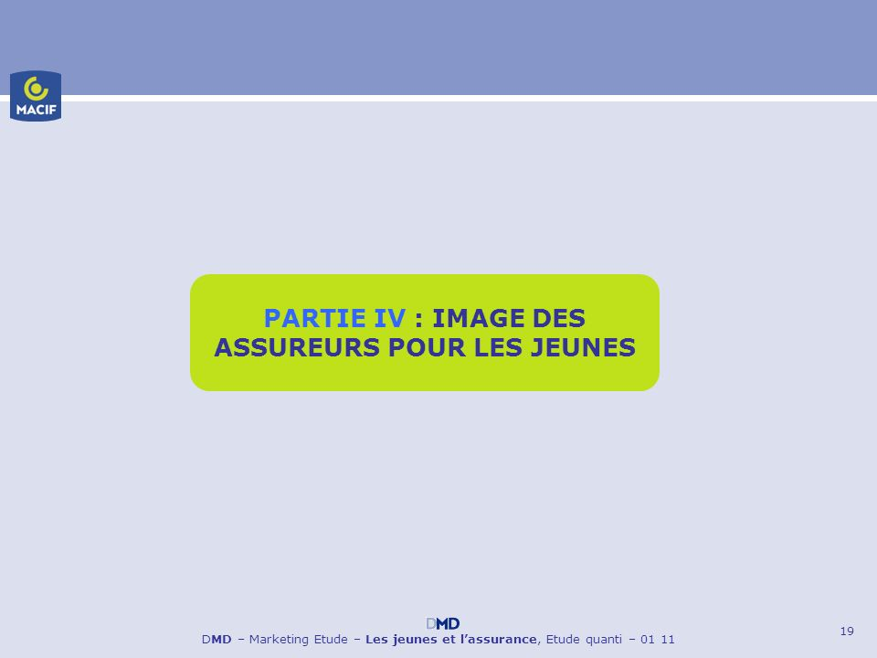 19 DMD – Marketing Etude – Les jeunes et lassurance, Etude quanti – 01 11 PARTIE IV : IMAGE DES ASSUREURS POUR LES JEUNES