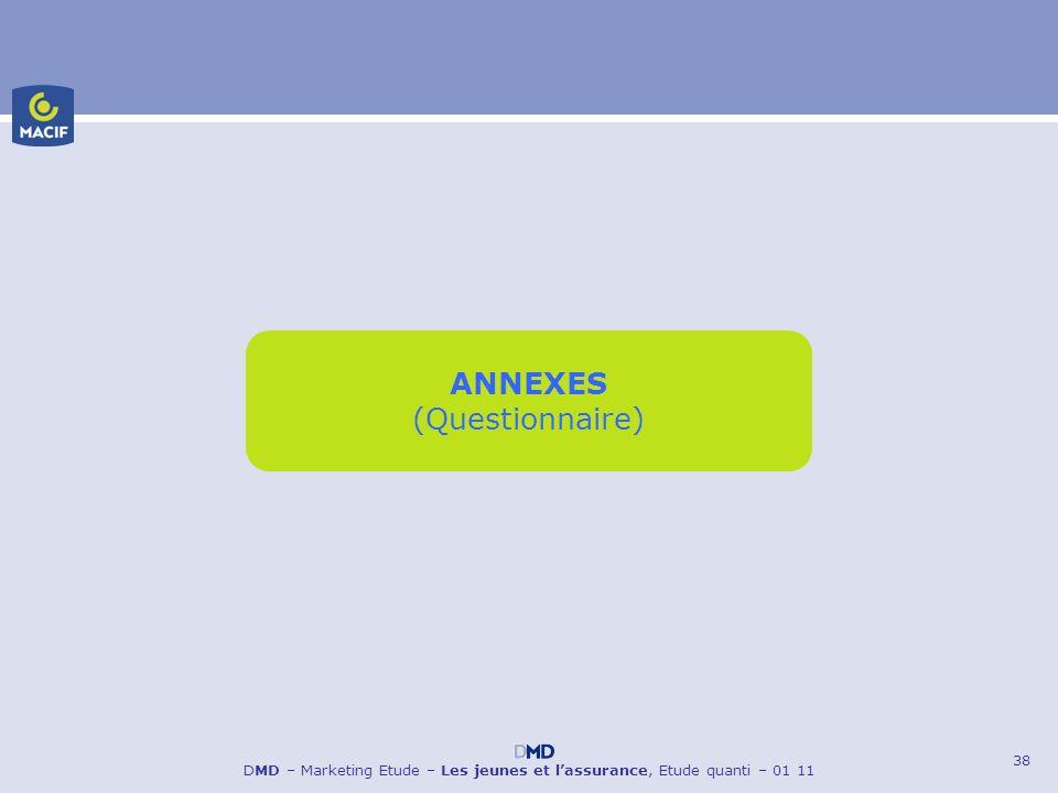 38 DMD – Marketing Etude – Les jeunes et lassurance, Etude quanti – 01 11 ANNEXES (Questionnaire)