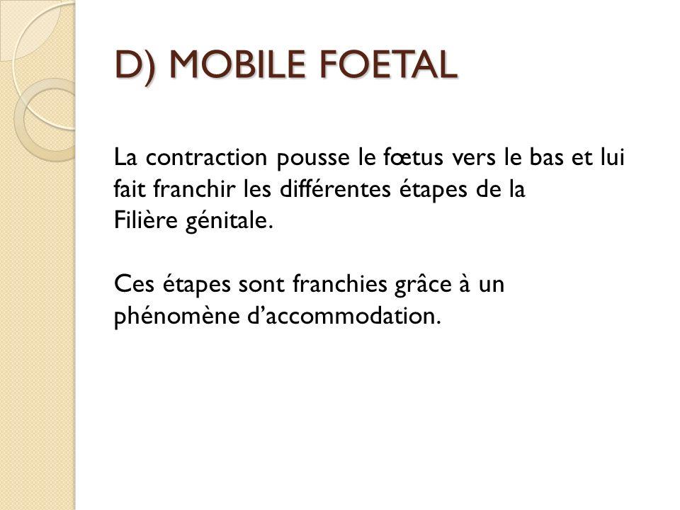 D) MOBILE FOETAL La contraction pousse le fœtus vers le bas et lui fait franchir les différentes étapes de la Filière génitale.