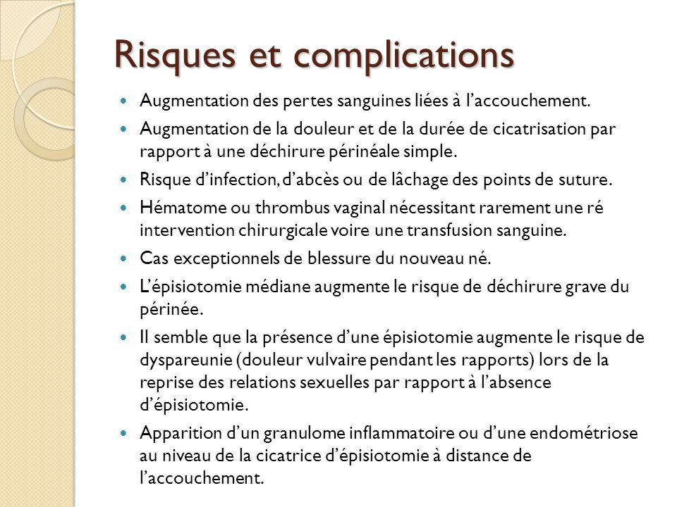 Risques et complications Augmentation des pertes sanguines liées à laccouchement.