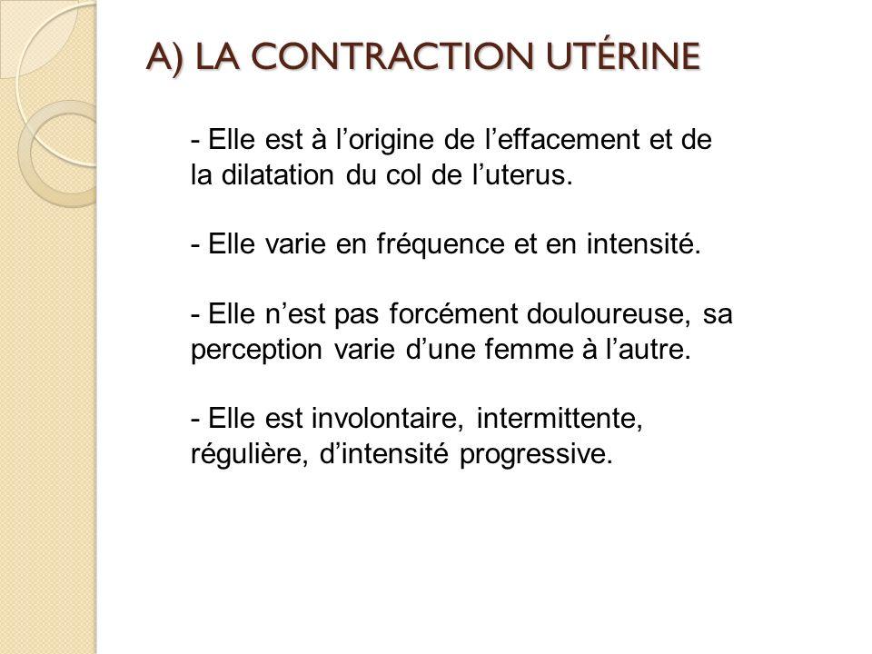 A) LA CONTRACTION UTÉRINE - Elle est à lorigine de leffacement et de la dilatation du col de luterus.