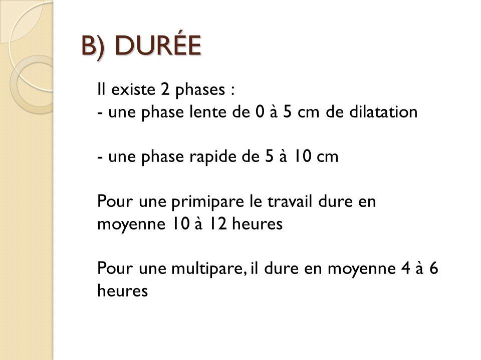 B) DURÉE Il existe 2 phases : - une phase lente de 0 à 5 cm de dilatation - une phase rapide de 5 à 10 cm Pour une primipare le travail dure en moyenne 10 à 12 heures Pour une multipare, il dure en moyenne 4 à 6 heures