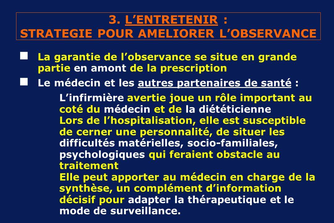 3. LENTRETENIR : STRATEGIE POUR AMELIORER LOBSERVANCE La garantie de lobservance se situe en grande partie en amont de la prescription Le médecin et l
