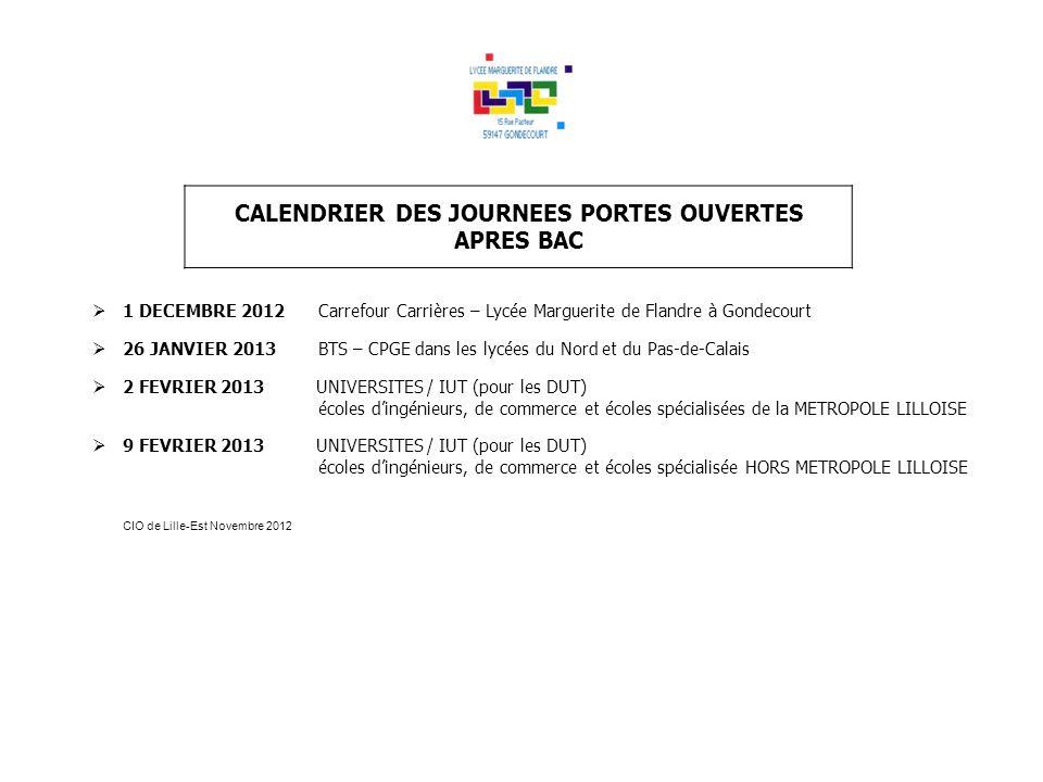 CALENDRIER DES JOURNEES PORTES OUVERTES APRES BAC 1 DECEMBRE 2012Carrefour Carrières – Lycée Marguerite de Flandre à Gondecourt 26 JANVIER 2013 BTS –