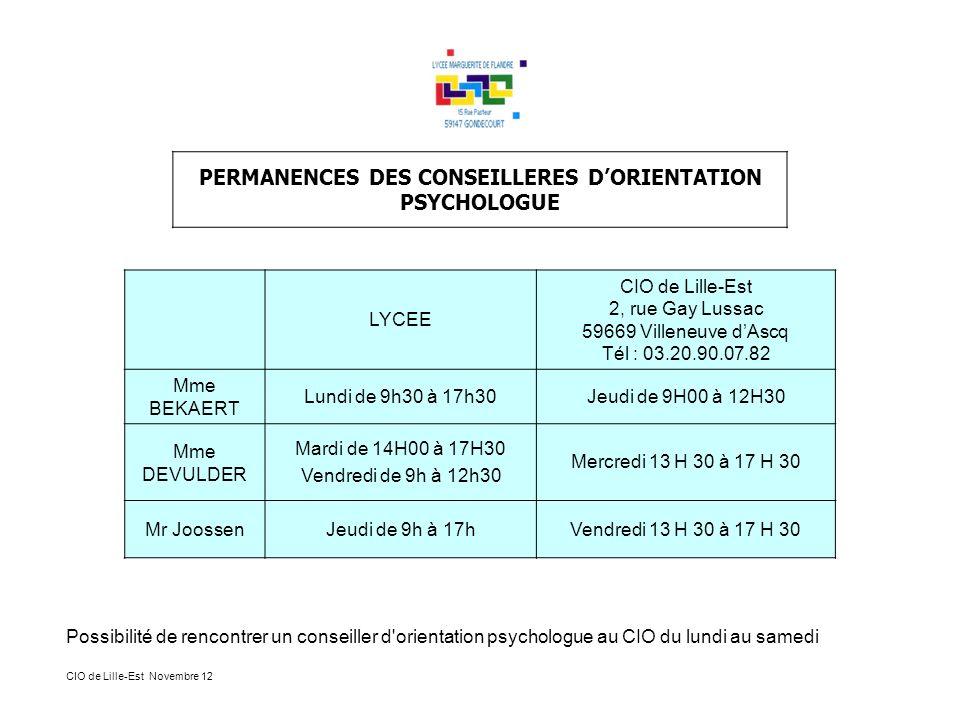 PERMANENCES DES CONSEILLERES DORIENTATION PSYCHOLOGUE LYCEE CIO de Lille-Est 2, rue Gay Lussac 59669 Villeneuve dAscq Tél : 03.20.90.07.82 Mme BEKAERT