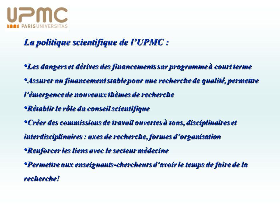 La politique scientifique de lUPMC : Les dangers et dérives des financements sur programme à court terme Les dangers et dérives des financements sur p