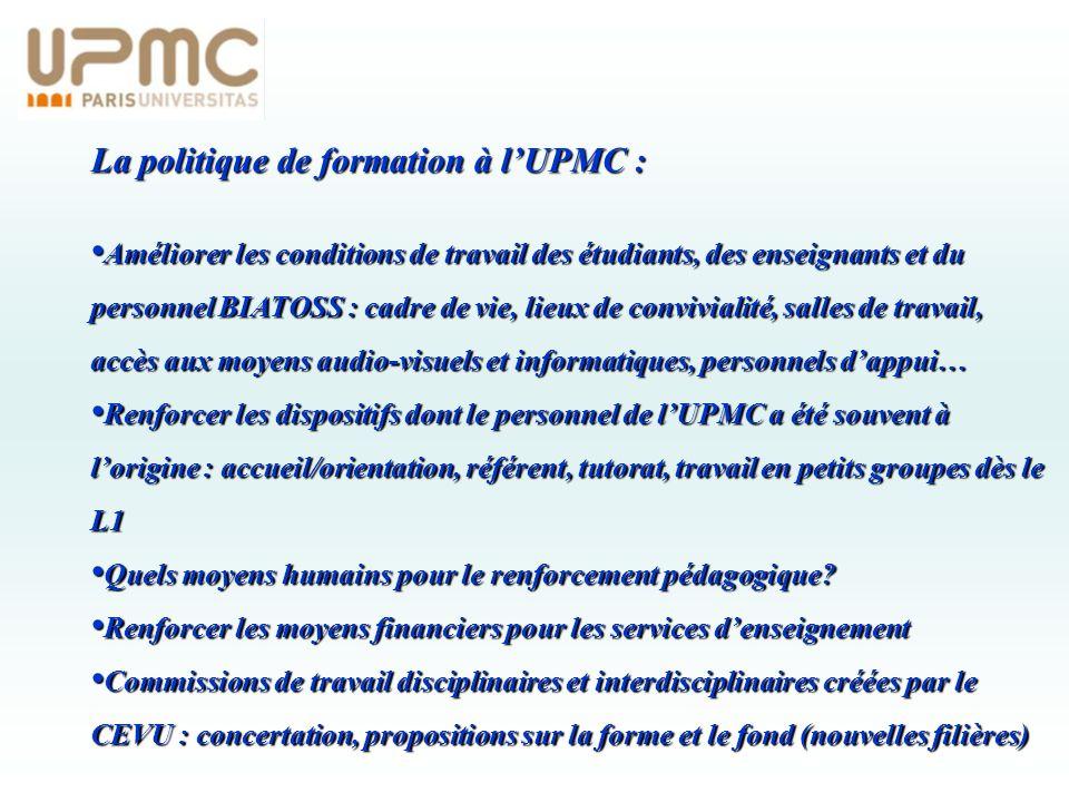 La politique de formation à lUPMC : Améliorer les conditions de travail des étudiants, des enseignants et du personnel BIATOSS : cadre de vie, lieux d