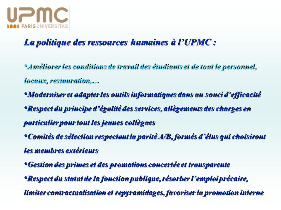 La politique des ressources humaines à lUPMC : Améliorer les conditions de travail des étudiants et de tout le personnel, locaux, restauration,… Améli