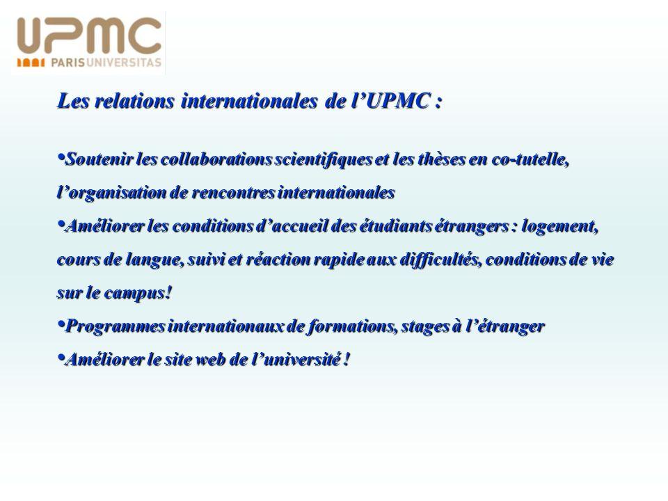 Les relations internationales de lUPMC : Soutenir les collaborations scientifiques et les thèses en co-tutelle, lorganisation de rencontres internatio