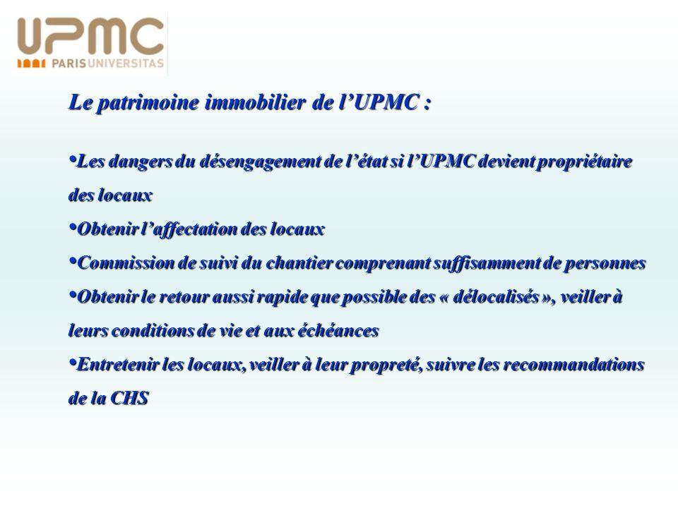 Le patrimoine immobilier de lUPMC : Les dangers du désengagement de létat si lUPMC devient propriétaire des locaux Les dangers du désengagement de lét