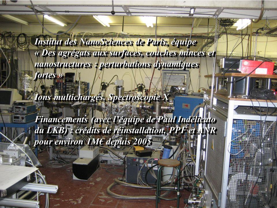 Institut des NanoSciences de Paris, équipe « Des agrégats aux surfaces, couches minces et nanostructures : perturbations dynamiques fortes » Ions mult