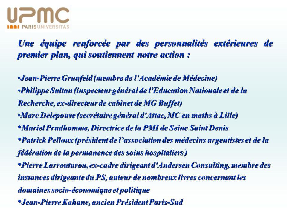 Une équipe renforcée par des personnalités extérieures de premier plan, qui soutiennent notre action : Jean-Pierre Grunfeld (membre de l'Académie de M