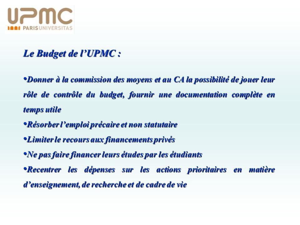 Le Budget de lUPMC : Donner à la commission des moyens et au CA la possibilité de jouer leur rôle de contrôle du budget, fournir une documentation com