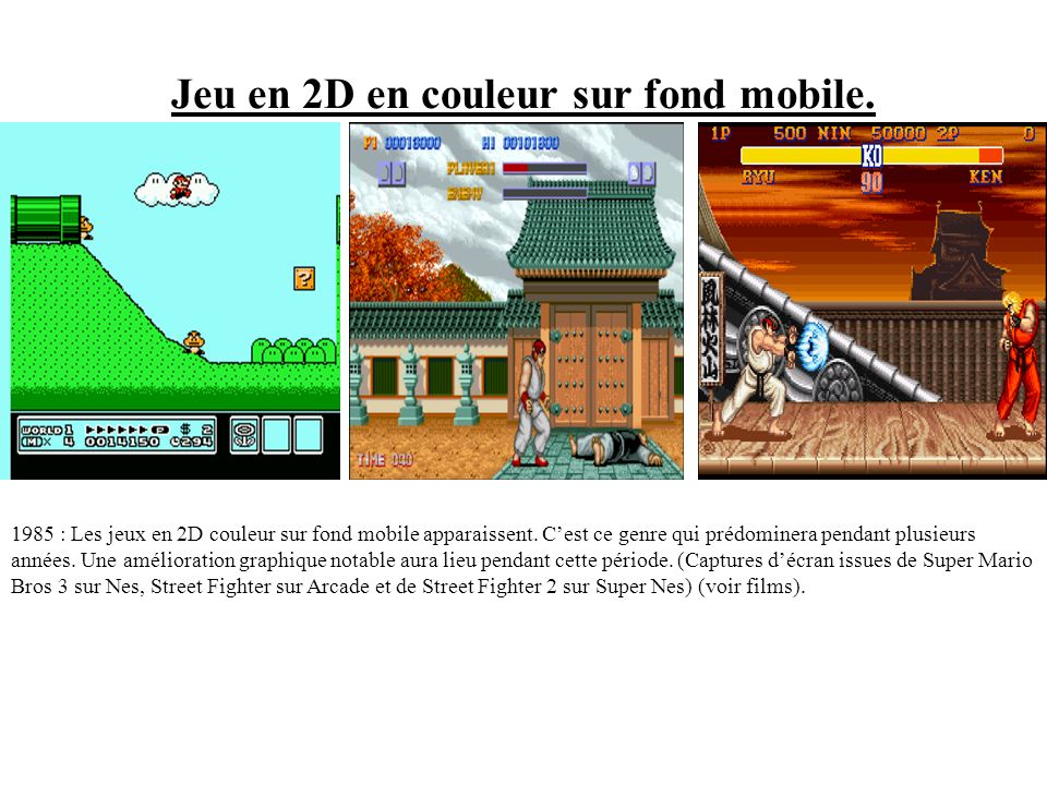 Jeu 2D en couleur sur fond fixe 1979 : Taito lance son jeu Space Invaders : Lun des premiers jeux à afficher des images en 2D en couleurs sur fond fix