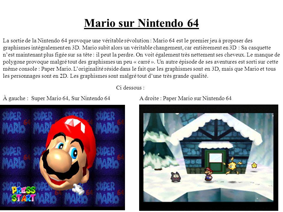 Avec lévolution des supports, Mario gagna en détails. Ainsi, on voit apparaître dans Super Mario World, sur Super Nes (console 16-bits), Mario avec un