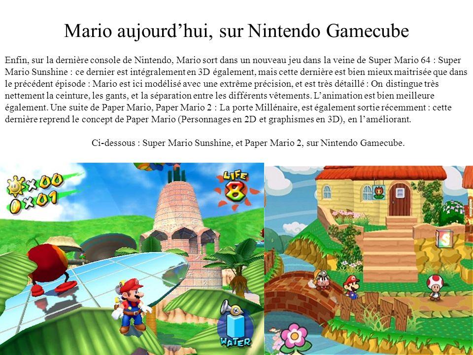 Mario sur Nintendo 64 La sortie de la Nintendo 64 provoque une véritable révolution : Mario 64 est le premier jeu à proposer des graphismes intégralem