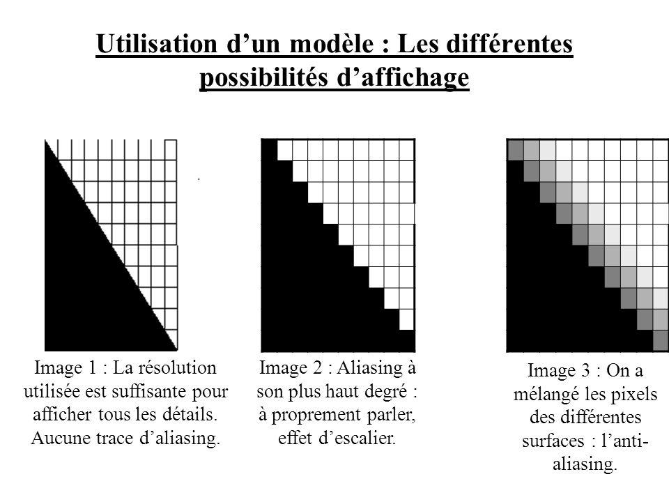 Lapparition de la 3D fait apparaître un nouveau problème : laliasing. Laliasing est un phénomène graphique qui a lieu lorsque lon essaie dafficher une