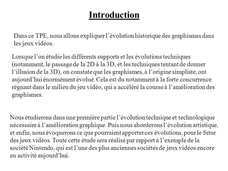 TPE Lévolution des graphismes dans le jeu vidéo. Sommaire : Introduction. I Une évolution technique et technologique nécessaire. 1)Les supports. 2)De