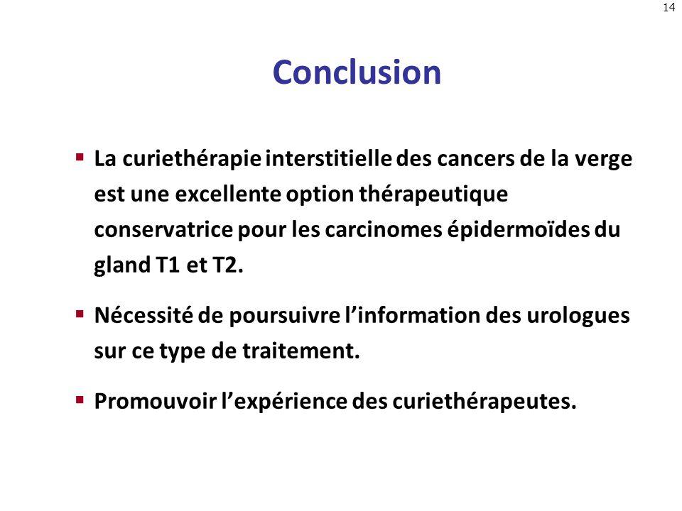 14 Conclusion La curiethérapie interstitielle des cancers de la verge est une excellente option thérapeutique conservatrice pour les carcinomes épider