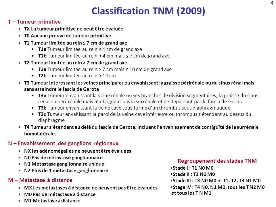 4 Classification TNM (2009) T – Tumeur primitive TX La tumeur primitive ne peut être évaluée T0 Aucune preuve de tumeur primitive T1 Tumeur limitée au