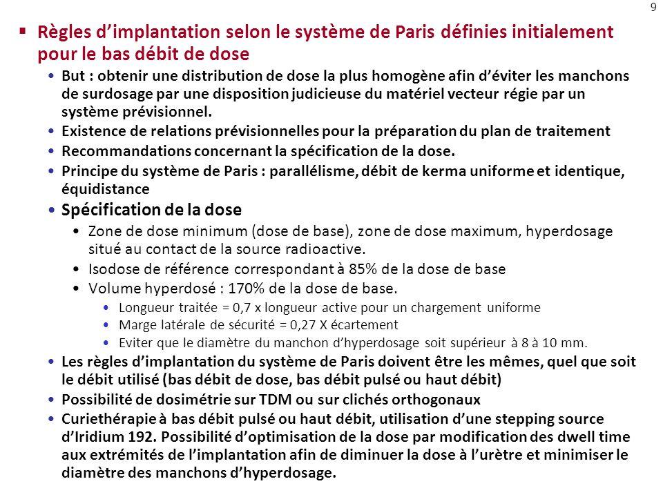 9 Règles dimplantation selon le système de Paris définies initialement pour le bas débit de dose But : obtenir une distribution de dose la plus homogè