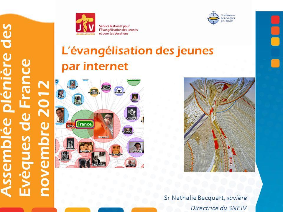 Lévangélisation des jeunes par internet Assemblée plénière des Evèques de France novembre 2012 Sr Nathalie Becquart, xavière Directrice du SNEJV