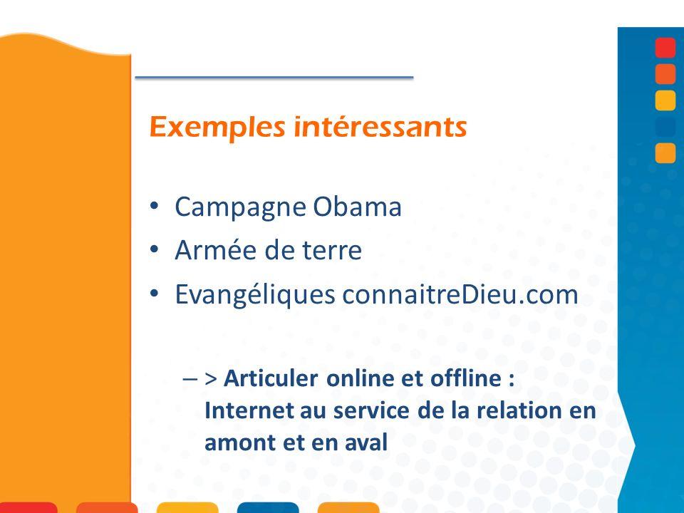 Exemples intéressants Campagne Obama Armée de terre Evangéliques connaitreDieu.com – > Articuler online et offline : Internet au service de la relation en amont et en aval