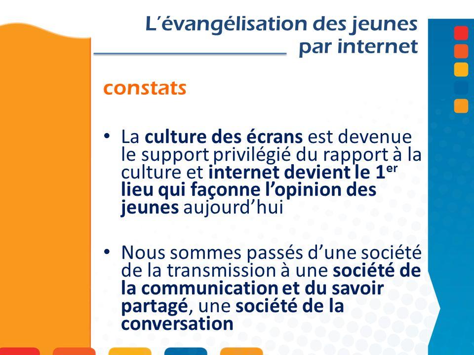 Convictions Internet, les nouveaux médias et la communication sont devenus des éléments clés de lévangélisation des jeunes.