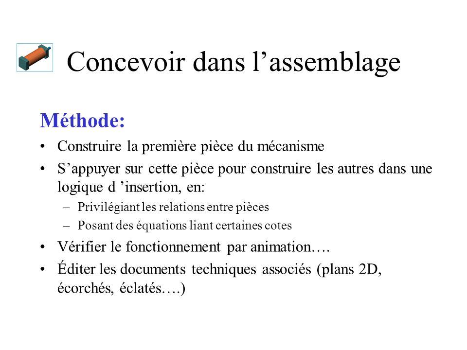 Exemple: concevoir un vérin Conditions de travail: Construire un vérin pneumatique Fabrication traditionnelle (usinage) Utilisation de composants standards Dessins de définition des pièces fabriquées