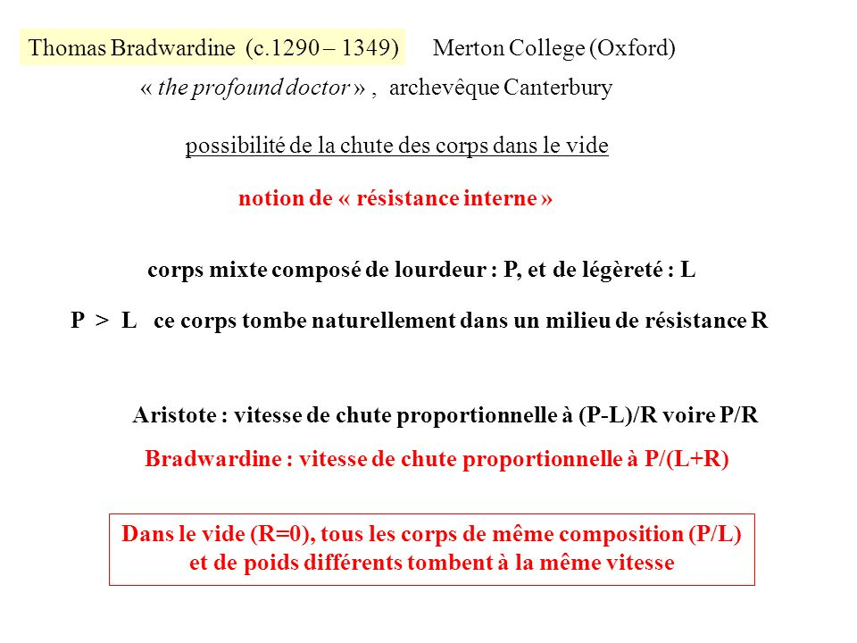 Thomas Bradwardine (c.1290 – 1349) « the profound doctor », archevêque Canterbury Merton College (Oxford) possibilité de la chute des corps dans le vi