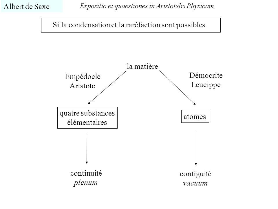 Expositio et quaestiones in Aristotelis Physicam Albert de Saxe Si la condensation et la raréfaction sont possibles. la matière quatre substances élém