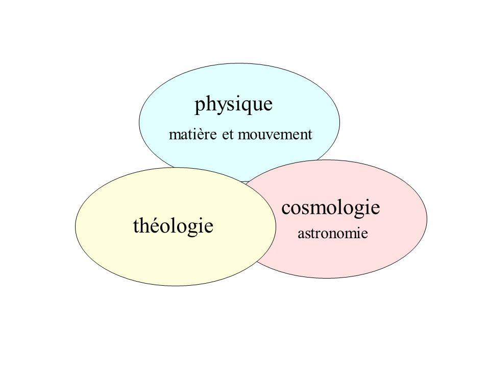 physique matière et mouvement cosmologie astronomie théologie