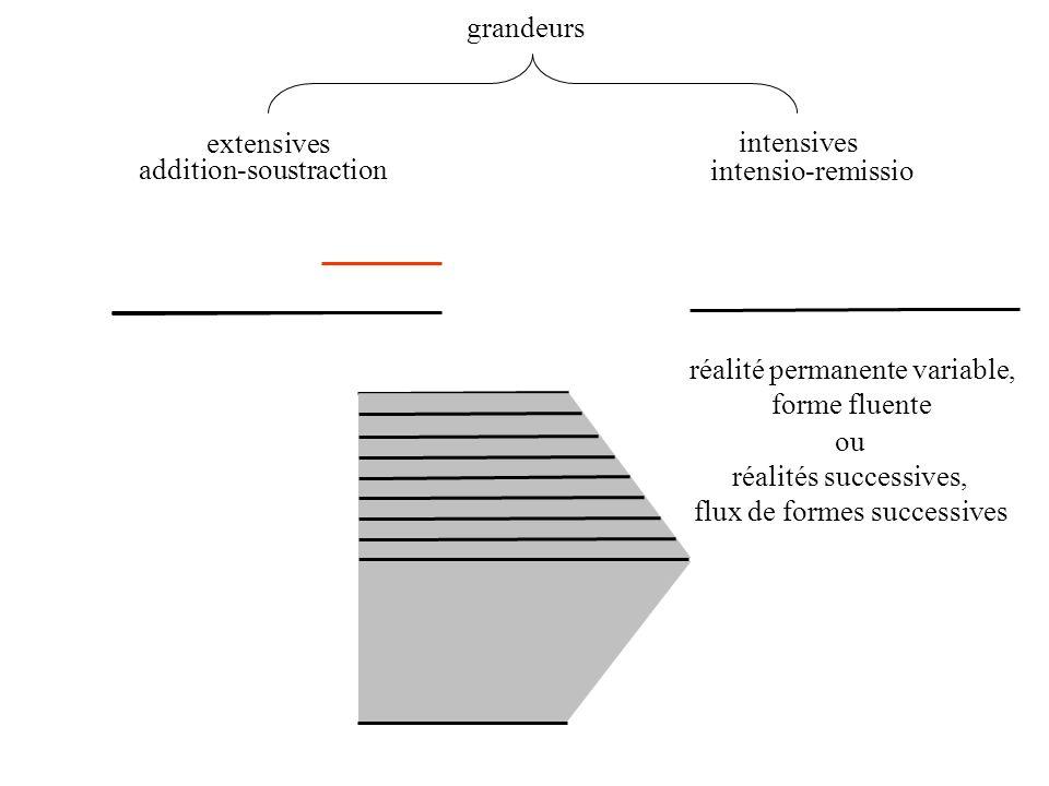 grandeurs extensives intensives addition-soustraction intensio-remissio réalité permanente variable, forme fluente ou réalités successives, flux de fo