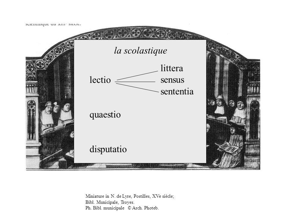 Miniature in N. de Lyre, Postilles, XVe siècle; Bibl. Municipale, Troyes. Ph. Bibl. municipale © Arch. Photeb. lectio quaestio disputatio littera sens