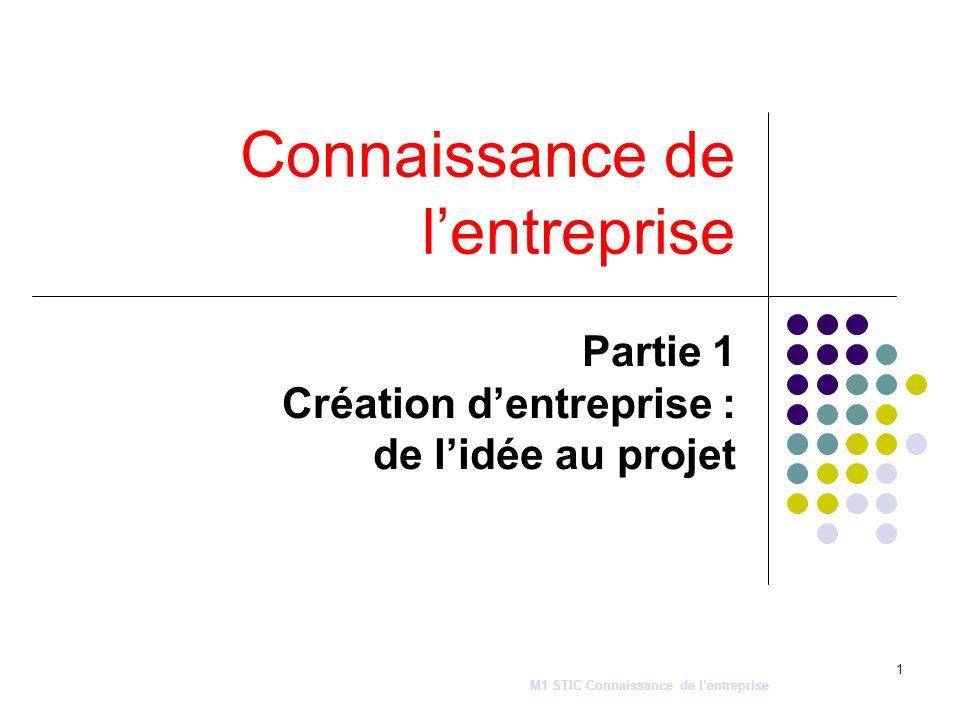 1 Connaissance de lentreprise Partie 1 Création dentreprise : de lidée au projet M1 STIC Connaissance de lentreprise