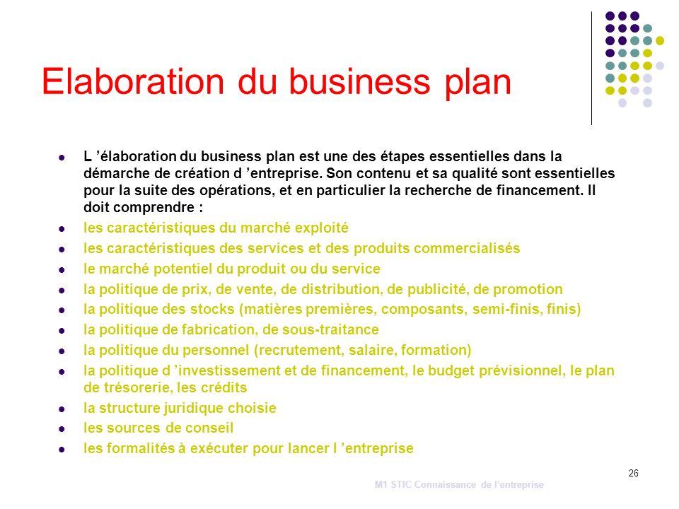 26 Elaboration du business plan L élaboration du business plan est une des étapes essentielles dans la démarche de création d entreprise. Son contenu