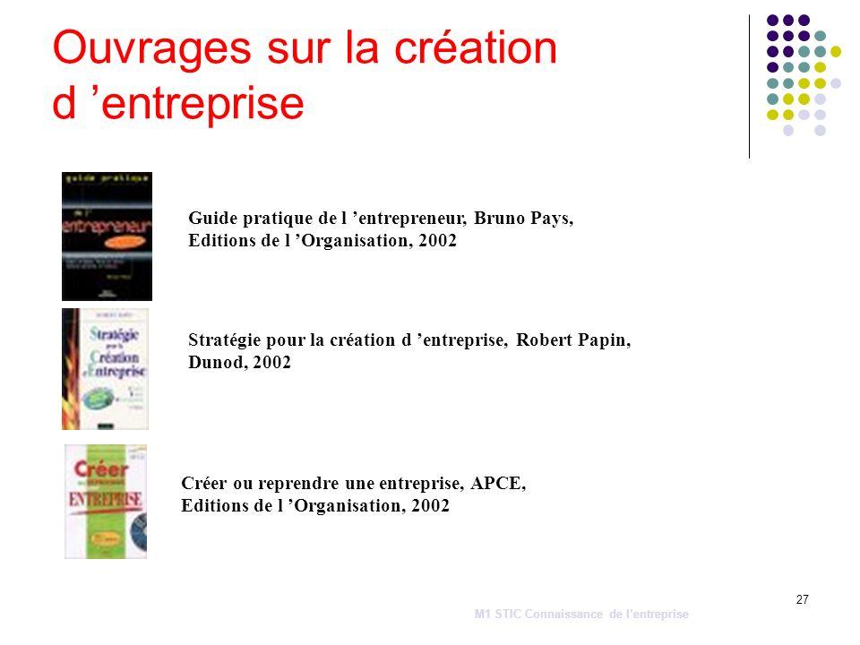 27 Ouvrages sur la création d entreprise Guide pratique de l entrepreneur, Bruno Pays, Editions de l Organisation, 2002 Stratégie pour la création d e