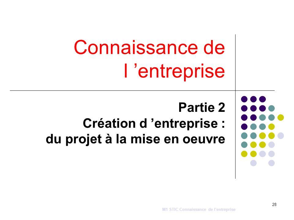 28 Connaissance de l entreprise Partie 2 Création d entreprise : du projet à la mise en oeuvre M1 STIC Connaissance de lentreprise