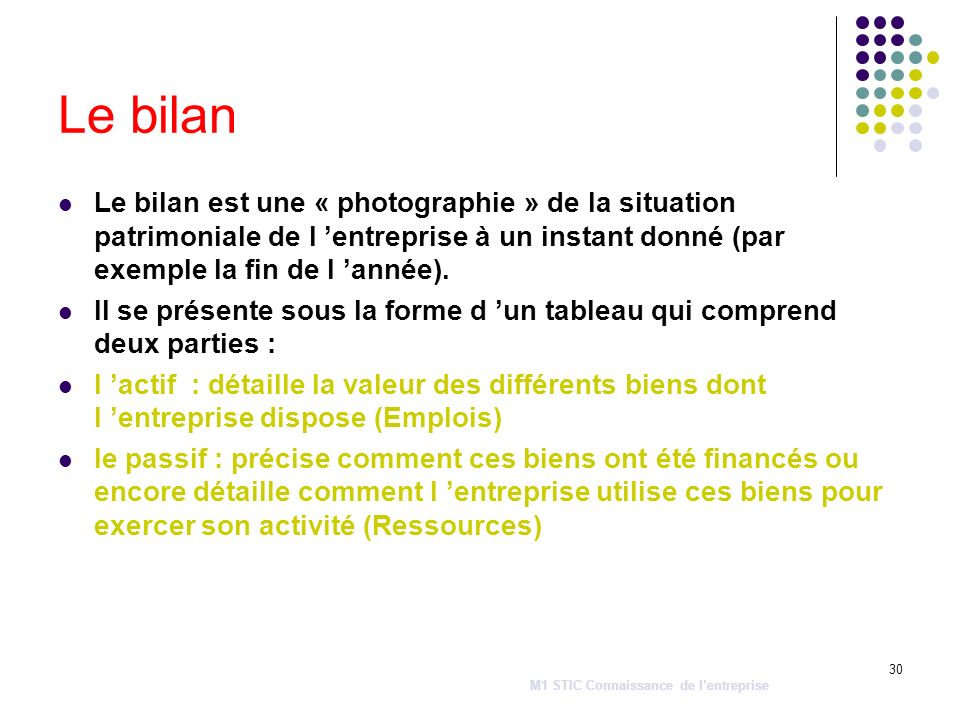 30 Le bilan Le bilan est une « photographie » de la situation patrimoniale de l entreprise à un instant donné (par exemple la fin de l année). Il se p