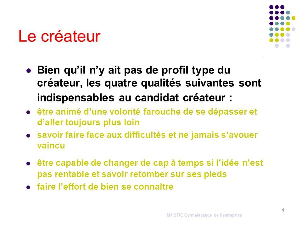 4 Le créateur Bien quil ny ait pas de profil type du créateur, les quatre qualités suivantes sont indispensables au candidat créateur : être animé dun