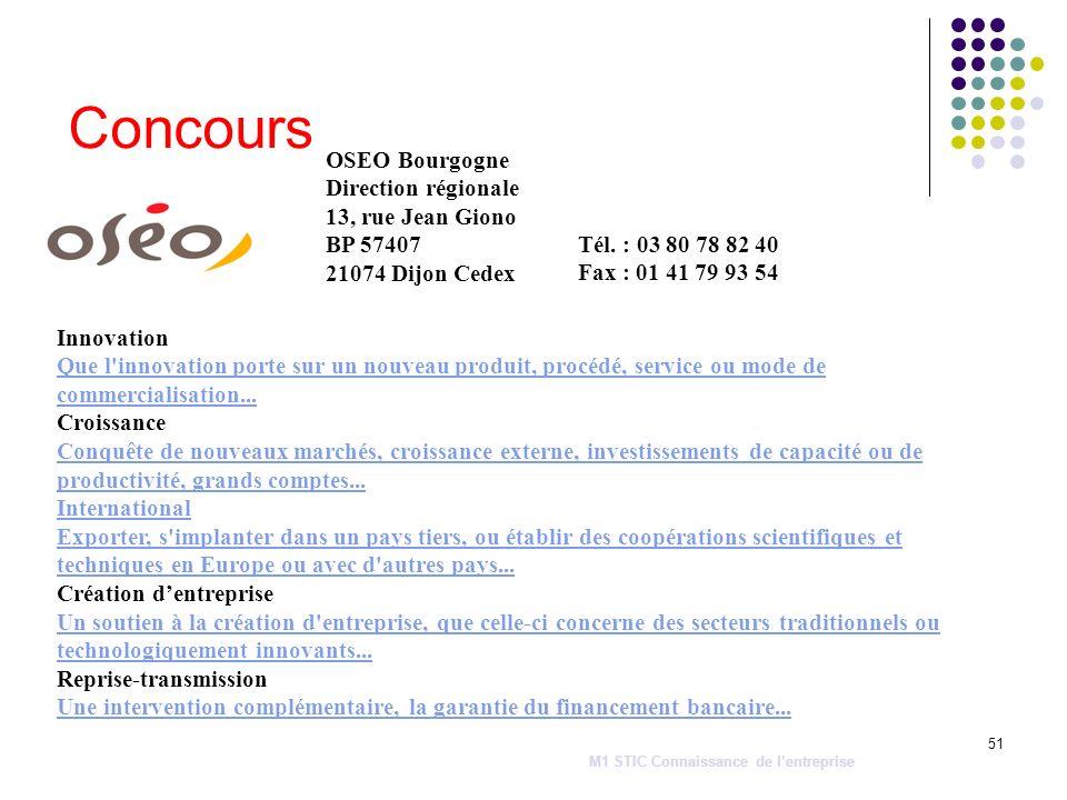 51 Concours OSEO Bourgogne Direction régionale 13, rue Jean Giono BP 57407 21074 Dijon Cedex M1 STIC Connaissance de lentreprise Tél. : 03 80 78 82 40