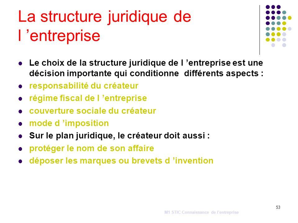 53 La structure juridique de l entreprise Le choix de la structure juridique de l entreprise est une décision importante qui conditionne différents as