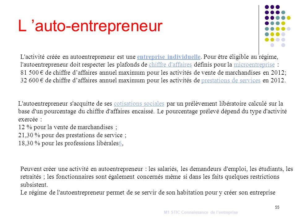 55 L auto-entrepreneur M1 STIC Connaissance de lentreprise L'activité créée en autoentrepreneur est une entreprise individuelle. Pour être éligible au