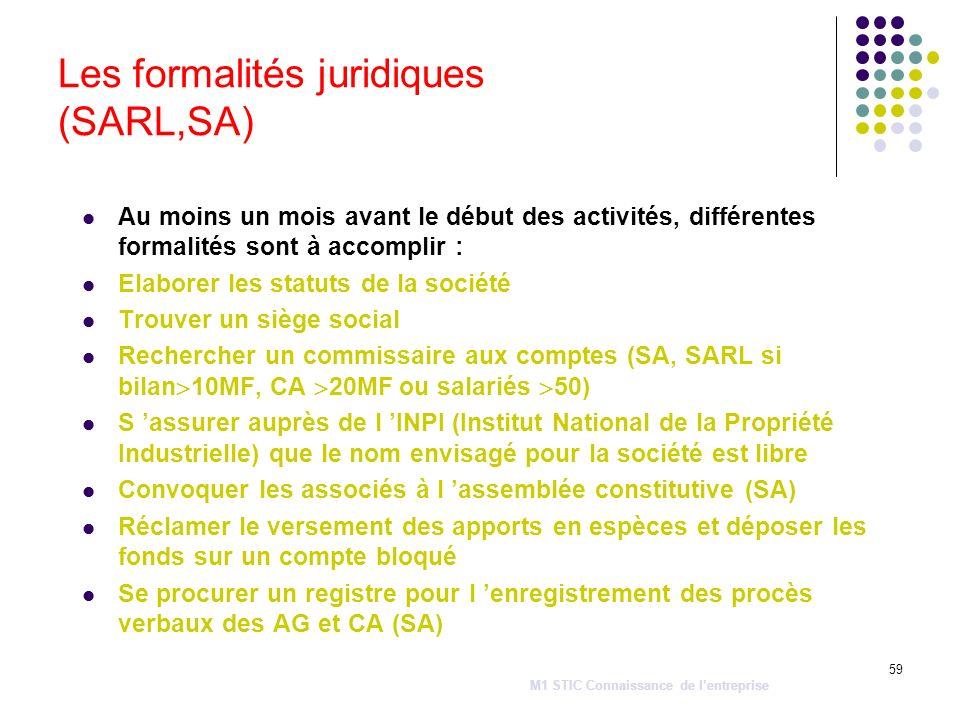 59 Les formalités juridiques (SARL,SA) Au moins un mois avant le début des activités, différentes formalités sont à accomplir : Elaborer les statuts d