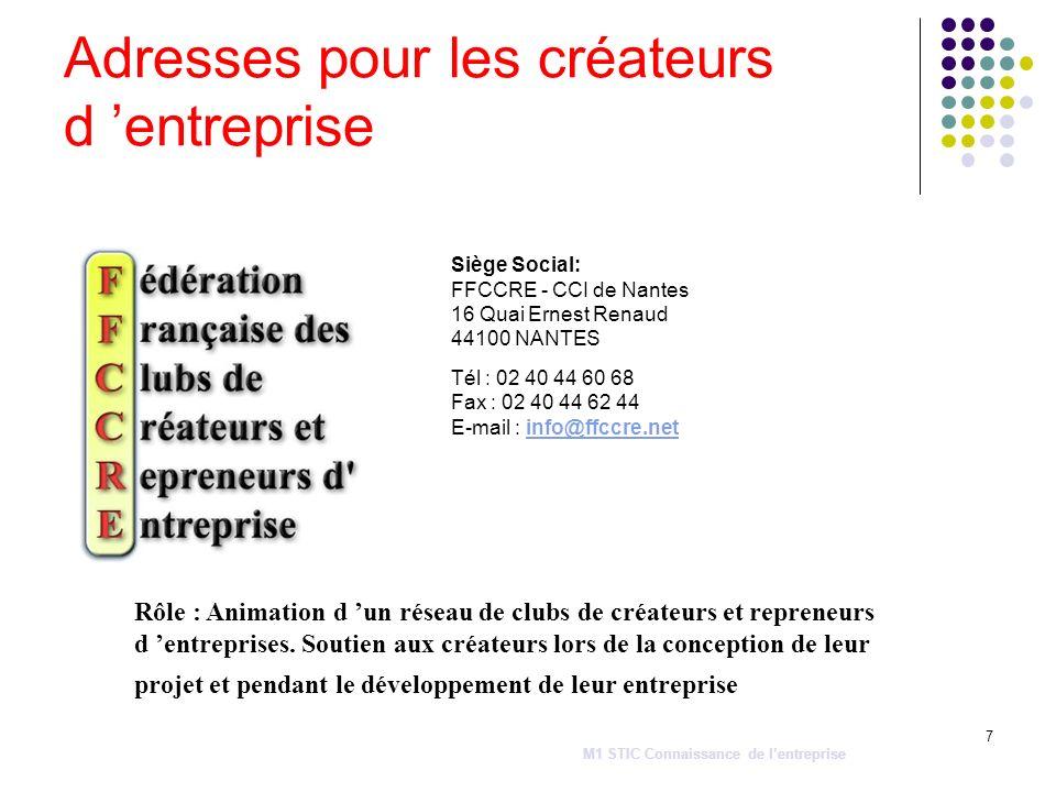 7 Adresses pour les créateurs d entreprise Siège Social: FFCCRE - CCI de Nantes 16 Quai Ernest Renaud 44100 NANTES Tél : 02 40 44 60 68 Fax : 02 40 44
