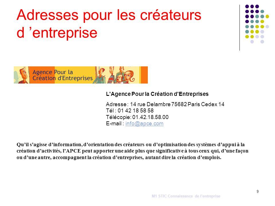 9 L'Agence Pour la Création d'Entreprises Adresse : 14 rue Delambre 75682 Paris Cedex 14 Tél : 01 42 18 58 58 Télécopie: 01.42.18.58.00 E-mail : info@