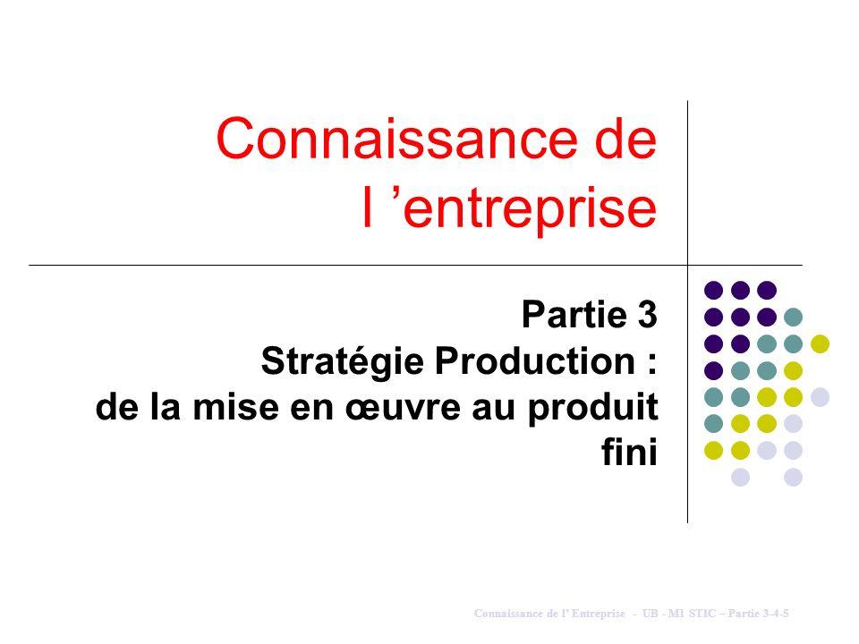 Connaissance de l entreprise Partie 3 Stratégie Production : de la mise en œuvre au produit fini Connaissance de l Entreprise - UB - M1 STIC – Partie