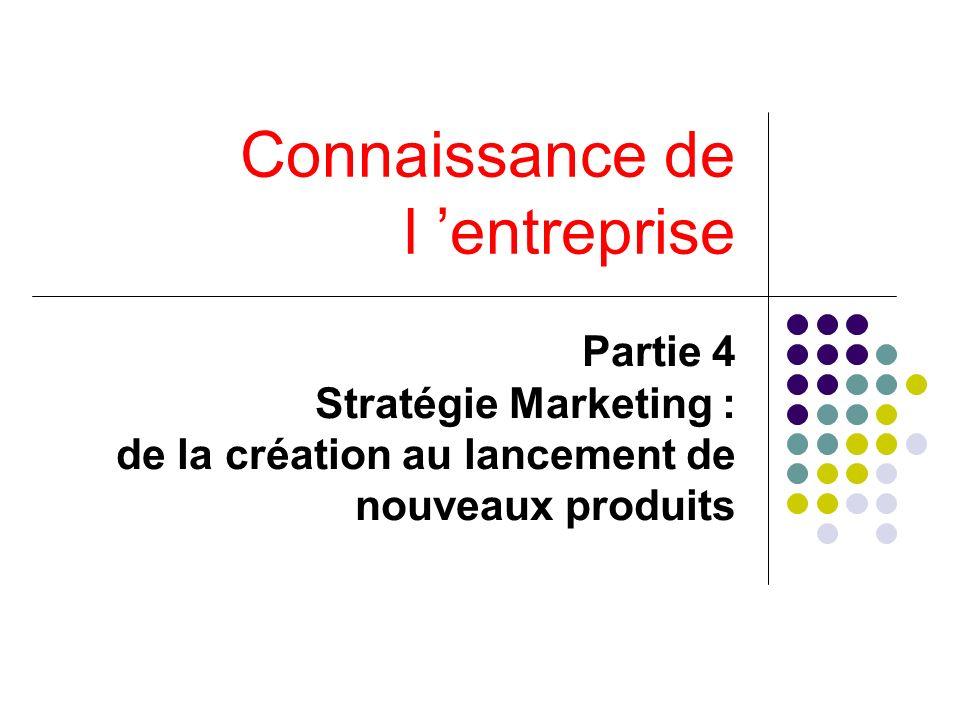Connaissance de l entreprise Partie 4 Stratégie Marketing : de la création au lancement de nouveaux produits