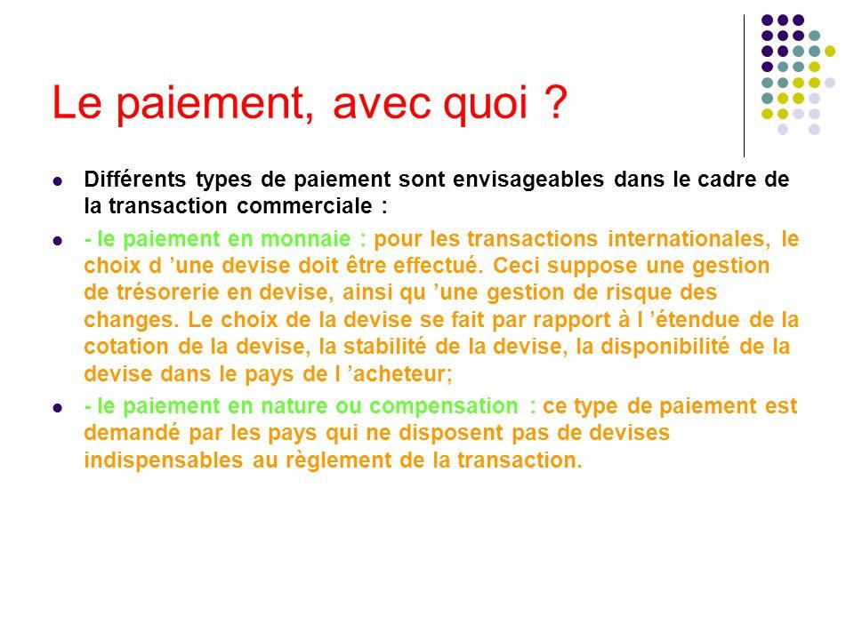 Le paiement, avec quoi ? Différents types de paiement sont envisageables dans le cadre de la transaction commerciale : - le paiement en monnaie : pour